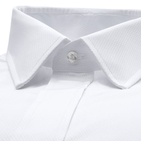Budd Classic Fit Fly Front Double Cuff Dress Shirt in White-Dress Shirt-Sterling-and-Burke