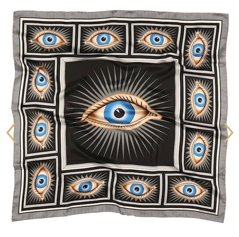 Halcyon Days Gladys Deacon Silk Scarf in Black, 36 by 36 Inches