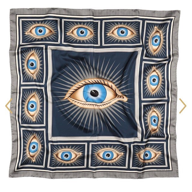 Halcyon Days Gladys Deacon Silk Scarf in Navy, 36 by 36 Inches-Ladies Silk Scarf-Sterling-and-Burke
