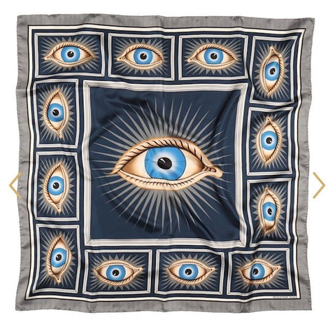 Halcyon Days Gladys Deacon Silk Scarf in Navy, 36 by 36 Inches