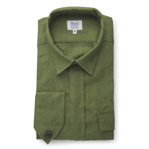 Budd Plain Linen Button Cuff Safari Shirt in Khaki-Ready Made Shirt-Sterling-and-Burke