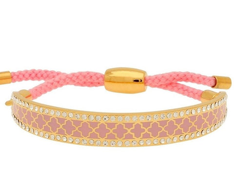 Enamel Bangle | 1cm Agama Sparkle Friendship Bangle | Pink and Gold | Halcyon Days | Made in England