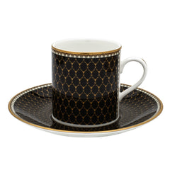 Fine English Bone China | Antler Trellis Coffee Cups and Saucers, Black | Set of 6 | Halcyon Days | Made in England-Coffee / Tea Set-Sterling-and-Burke