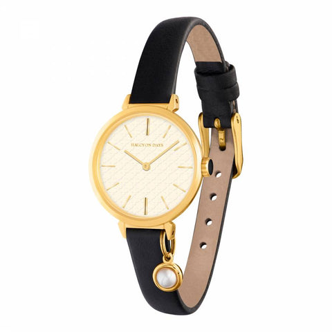 Halcyon Days Agama Leather Strap Pearl Charm Watch in Black and Gold