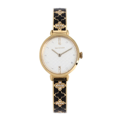 Agama Sparkle Bangle Strap Watch, Black and Gold | Halcyon Days | Made in England-Ladies Watch-Sterling-and-Burke