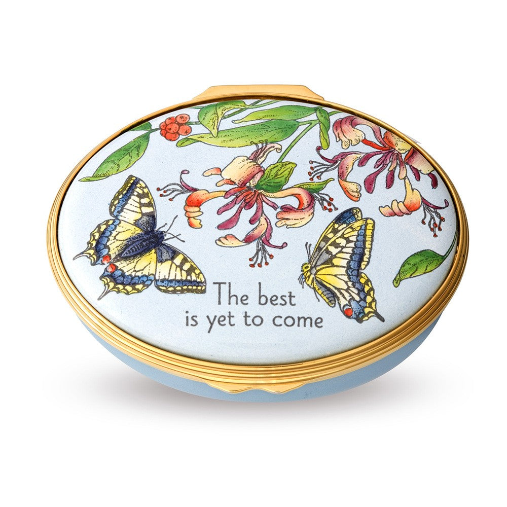 Enamel Box | The Best Is Yet To Come Enamel Box | Halcyon Days | Made in England-Enamel Box-Sterling-and-Burke