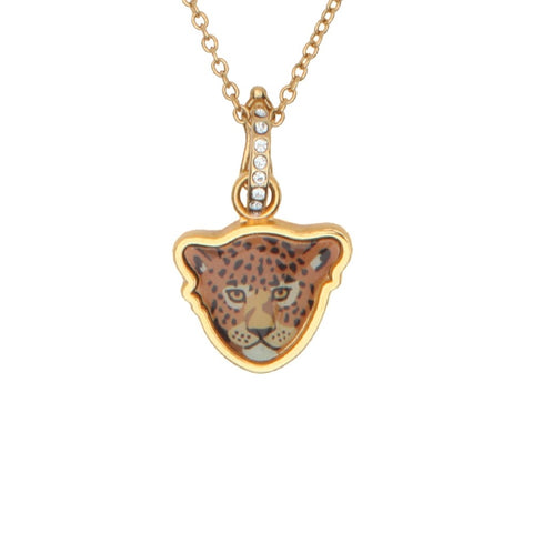 Enamel Pendant | Leopard Head Charm Gold Pendant Necklace | Halcyon Days | Made in England
