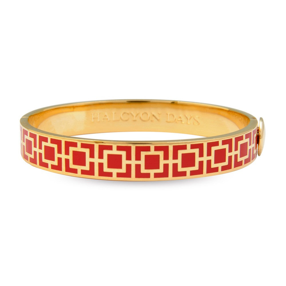 Enamel Bangle | 10mm Mosaic Red and Gold Hinged Bangle | Halcyon Days | Made in England-Bangle-Sterling-and-Burke