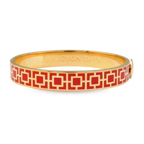 Enamel Bangle | 10mm Mosaic Hinged Bangle | Red and Gold | Halcyon Days | Made in England