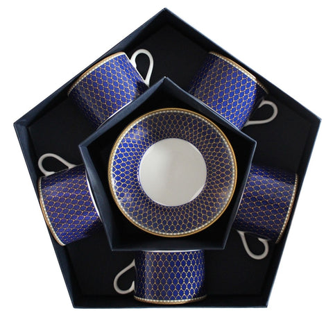 Fine English Bone China | Antler Trellis Tea Cups and Saucers, Midnight / Blue | Set of 5 | Halcyon Days | Made in England