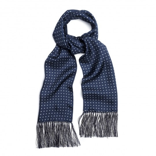Atkinson Silk Spot Scarf, Navy and White | Budd Shirtmakers-Silk Scarf-Sterling-and-Burke