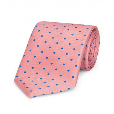 Medium Spot Foulard Neck Tie, Pink and Blue | Silk | Made in England by Budd Shirts