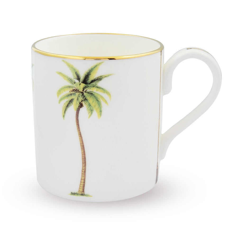 Halcyon Days Palm Mug in White-Bone China-Sterling-and-Burke