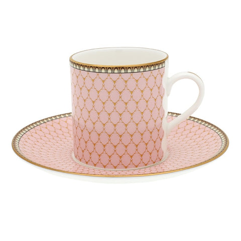 Fine English Bone China | Antler Trellis Coffee Cups and Saucers, Pink | Set of 6 | Halcyon Days | Made in England-Coffee / Tea Set-Sterling-and-Burke