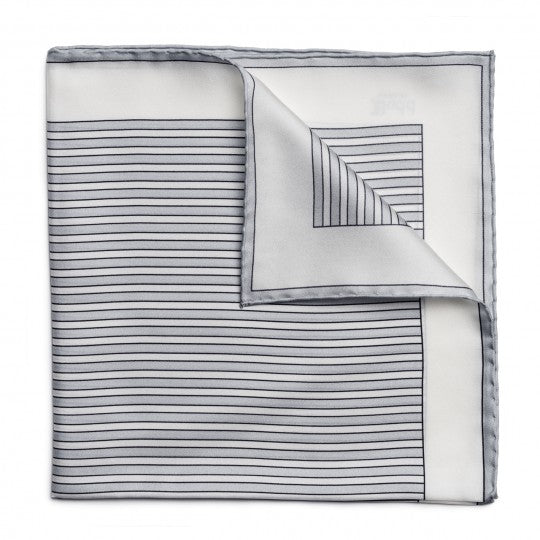 Budd Exclusive Budd Stripe Silk Pocket Square in Grey-Pocket Square-Sterling-and-Burke