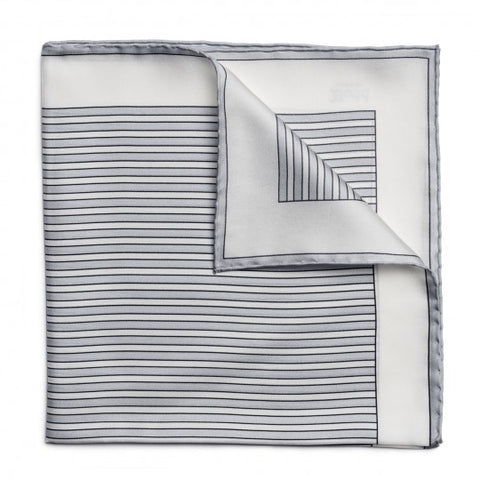 Exclusive Budd Stripe Pocket Square, Grey | Premium Silk | Budd Shirtmakers | Made in England