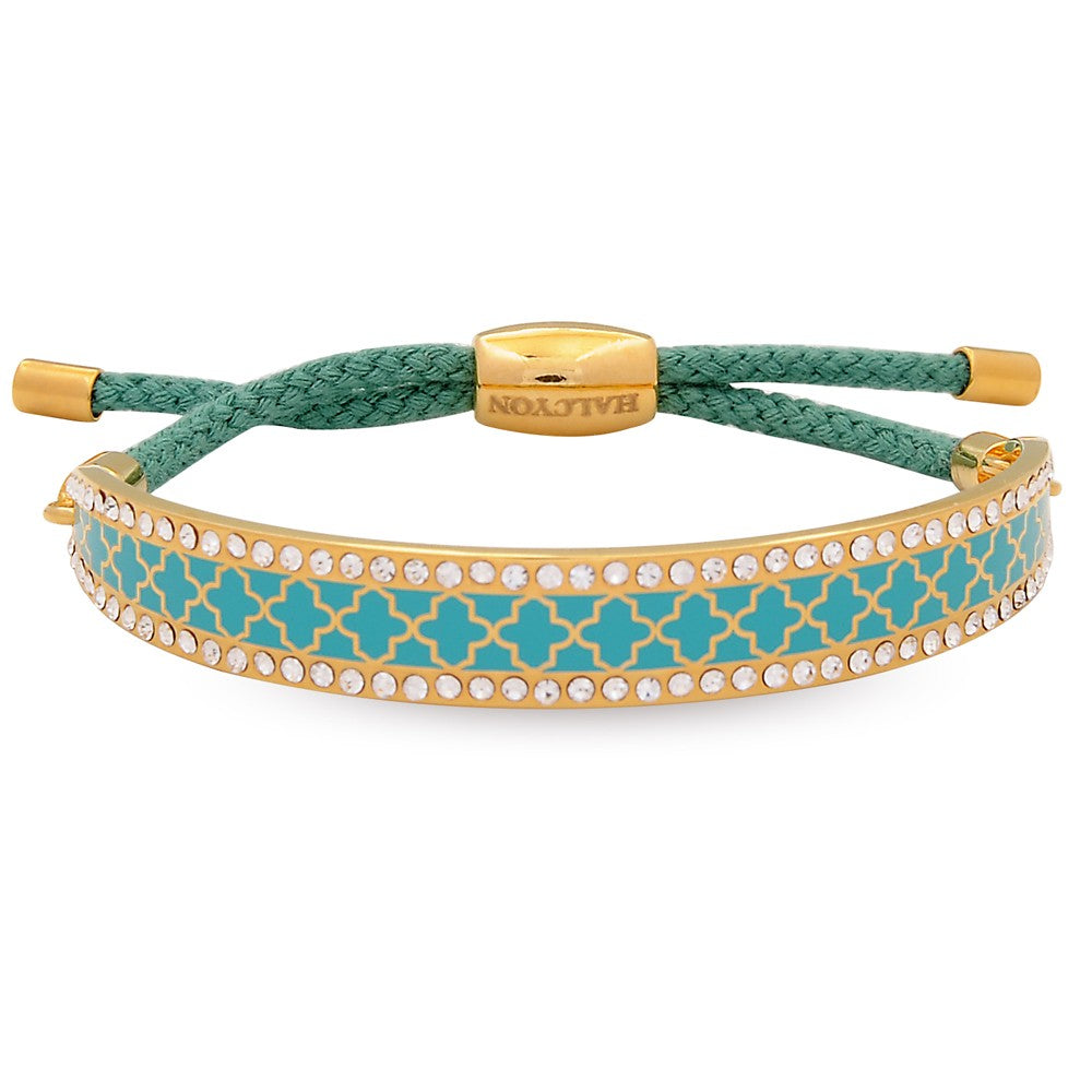 Enamel Bangle | Agama Sparkle Friendship Bangle, Turquoise and Gold | Halcyon Days | Made in England-Bangle-Sterling-and-Burke