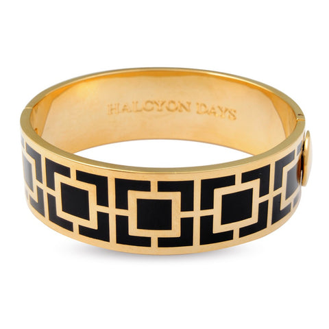 Enamel Bangle | 19mm Maya Hinged Bangle | Black and Gold | Halcyon Days | Made in England