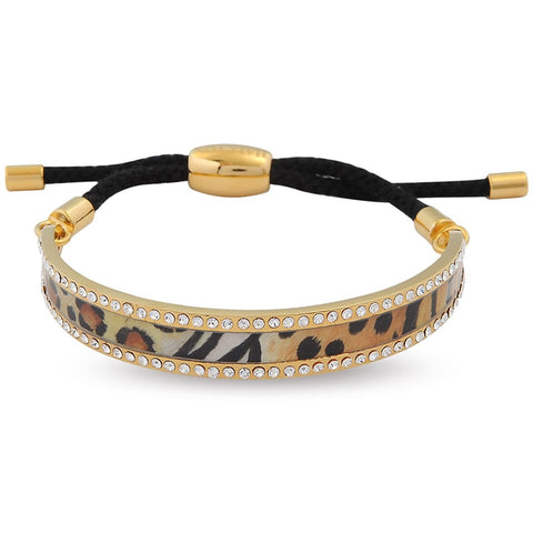 Enamel Bangle | 1cm Animal Print Sparkle Friendship Bangle | Black and Gold | Halcyon Days | Made in England