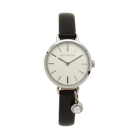 Agama Strap Pearl Charm Watch, Black & Palladium | Halcyon Days | Made in England-Ladies Watch-Sterling-and-Burke