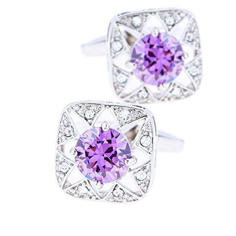 Simulated Amethyst Cufflinks with Silver Plating-Cufflinks-Sterling-and-Burke