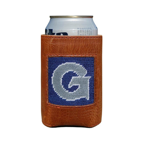 Needlepoint Collection | Georgetown University Needlepoint Can Cooler | Blue and Grey | Smathers and Branson