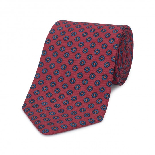 Daisy Madder Tie, Red and Blue | Silk | Budd Shirtmakers | Made in England-Necktie-Sterling-and-Burke