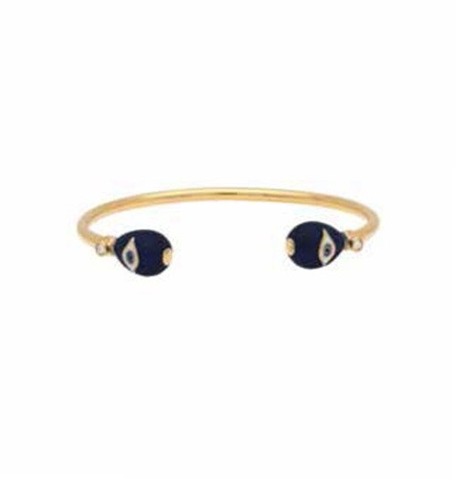 Enamel Bangle | Evil Eye Wire Bangle | Midnight Blue and Gold | Halcyon Days | Made in England-Bangle-Sterling-and-Burke