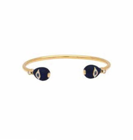 Halcyon Days Evil Eye Wire Enamel Bangle in Midnight Blue and Gold-Jewelry-Sterling-and-Burke
