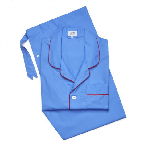 Budd Sleepwear | Poplin Pyjamas for Men | Blue and Red | Budd Shirtmakers | Made in England