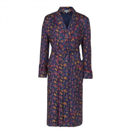 Budd Medium Paisley Silk Dressing Gown in Navy & Red-Dressing Gown-Sterling-and-Burke