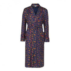 Medium Paisley Silk Dressing Gown, Navy and Red | Budd Shirtmakers | Made in England-Dressing Gown-Sterling-and-Burke