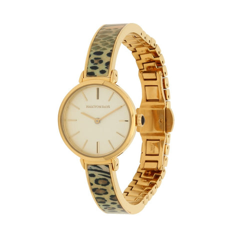Halcyon Days Mixed Animal Print Enamel Bangle Strap Watch in Animal and Gold