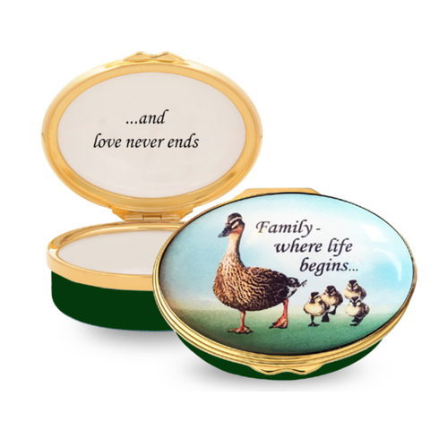 Enamel Box | Family - Where Life Begins... Enamel Box | Halcyon Days | Made in England-Enamel Box-Sterling-and-Burke