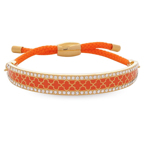 Enamel Bangle | 1cm Agama Sparkle Friendship Bangle | Orange and Gold | Halcyon Days | Made in England