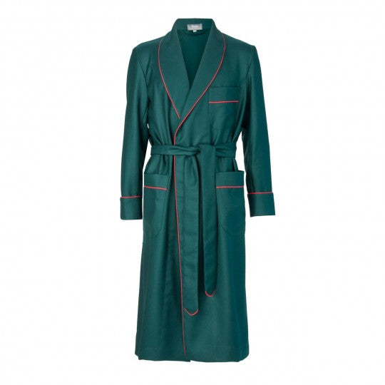 Budd Sleepwear | Wool Dressing Gown | Green and Red | Budd Shirtmakers | Made in England-Dressing Gown-Sterling-and-Burke