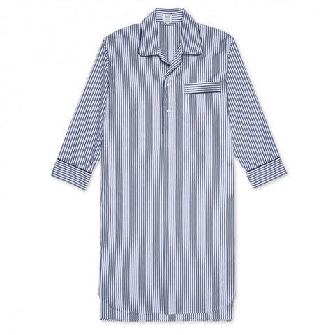 Exclusive Budd Stripe Cotton Nightshirt, Navy | Budd Shirtmakers