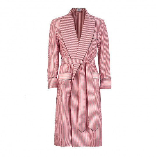 Budd Sleepwear | Exclusive Budd Stripe Cotton Dressing Gown | Red | Budd Shirtmakers | Made in England-Dressing Gown-Sterling-and-Burke