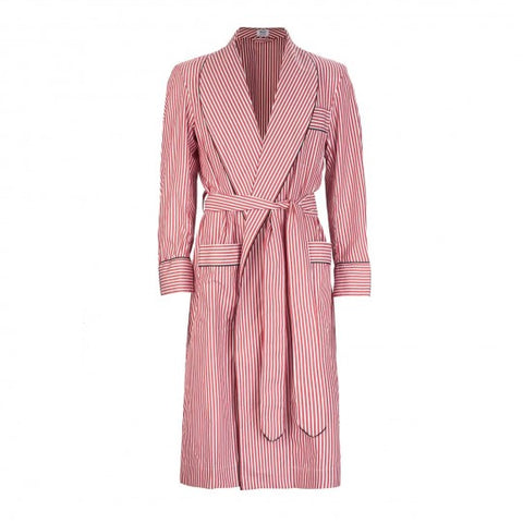 Budd Sleepwear | Exclusive Budd Stripe Cotton Dressing Gown | Red | Budd Shirtmakers | Made in England