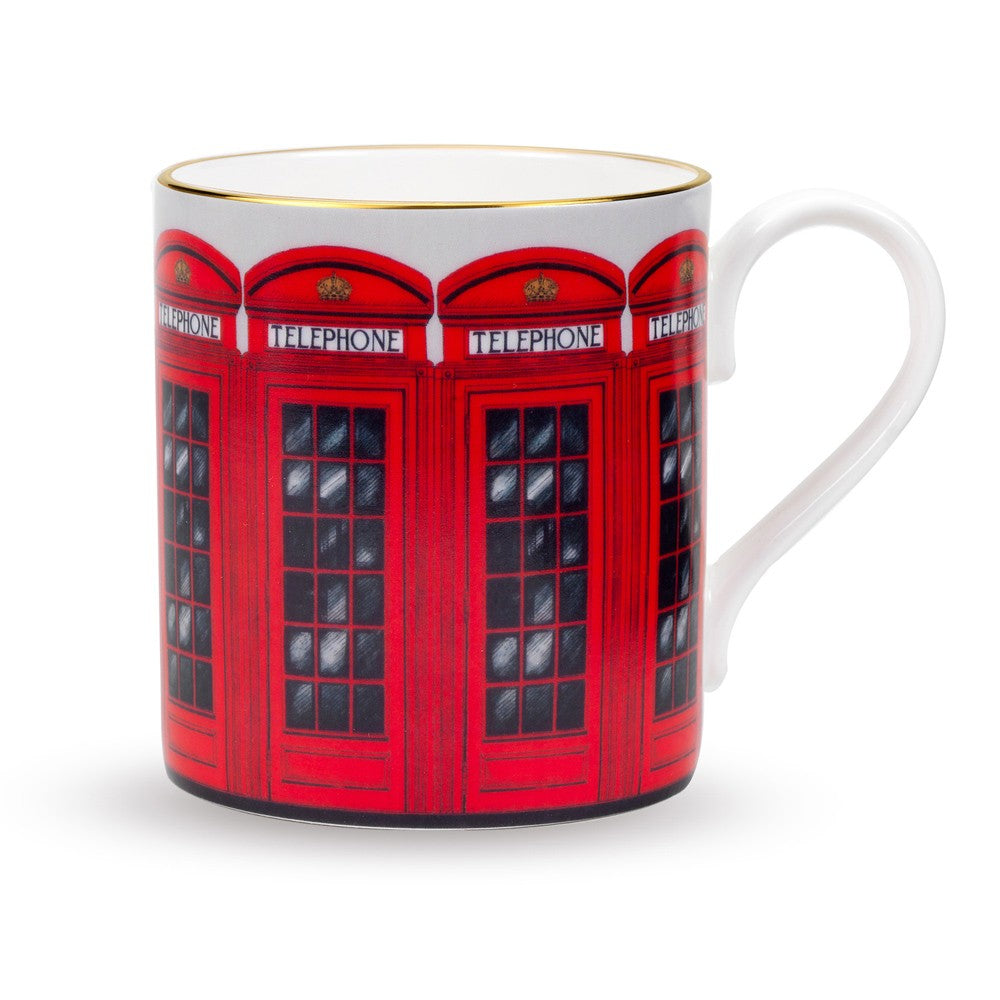 Fine English Bone China | Telephone Box Mug | Halcyon Days | Made in England-Mug-Sterling-and-Burke