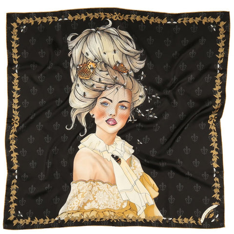 Halcyon Days Queen Bee Silk Scarf in Black, 36 by 36 Inches