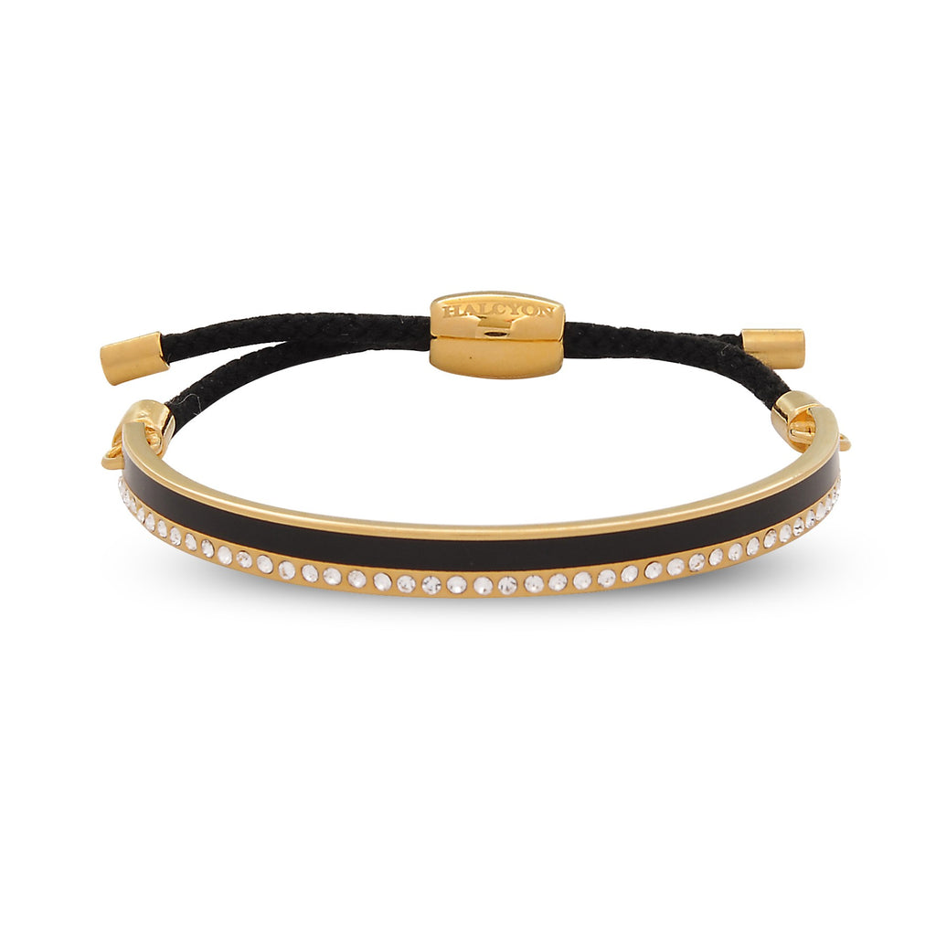 Halcyon Days 6mm Skinny Plain Sparkle Friendship Bangle in Black and Gold | Sterling & Burke-Bangle-Sterling-and-Burke