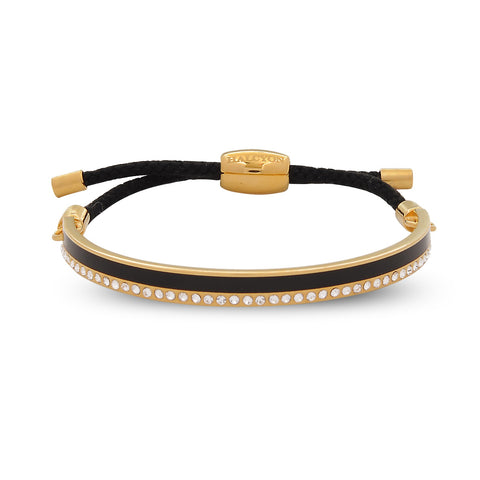 Enamel Bangle | Skinny Plain Sparkle Friendship Bangle, Black and Gold | Halcyon Days | Made in England-Bangle-Sterling-and-Burke