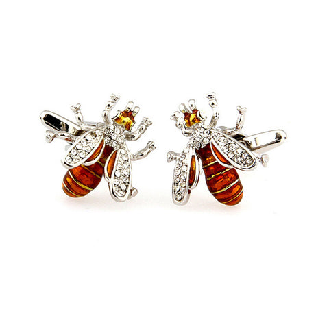Wasp Cufflinks | Insect Cuff Links | Gold Enamel with Silver | Silver Plating | Bee Cufflinks | Sterling and Burke