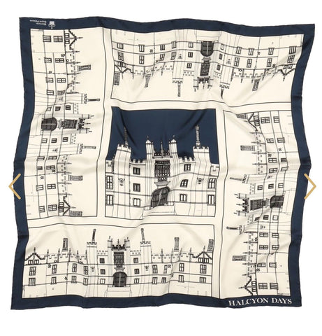 Halcyon Days Silk Scarf | Hampton Court Palace | Navy | Silk Scarf | 36 by 36 Inches | Made in England