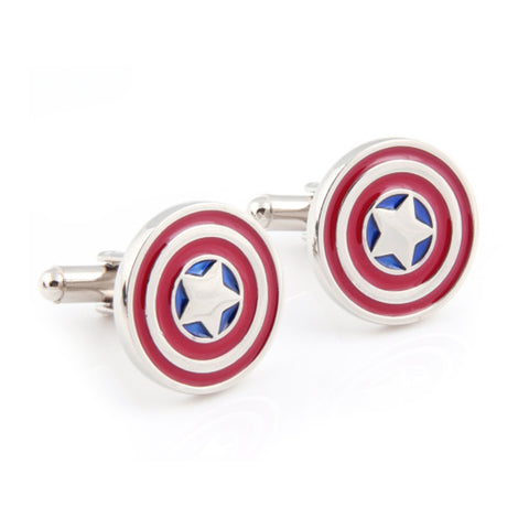 Novelty Cufflinks | Captain America Cufflinks | Red, White and Blue | Sterling and Burke | Made in USA