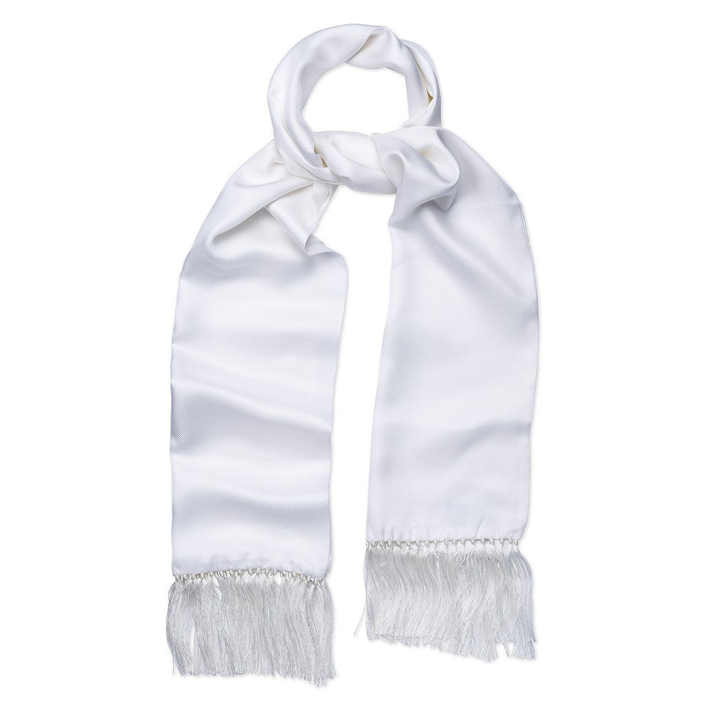 Budd Plain Silk Tuxedo Scarf in White-Scarf-Sterling-and-Burke