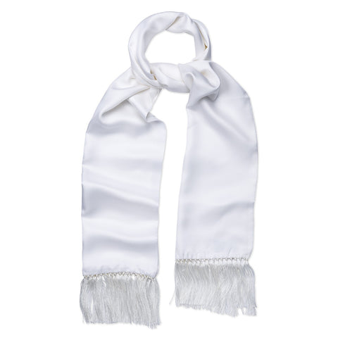 Budd Scarf | Tuxedo Scarf | White Silk Dress Scarf | Silk Formal Wear Scarf |  Ivory White | Budd Shirtmakers | Made in England