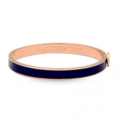 Enamel Bangle | 6mm Skinny Plain Hinged Bangle | Navy and Rose Gold | Halcyon Days | Made in England-Bangle-Sterling-and-Burke
