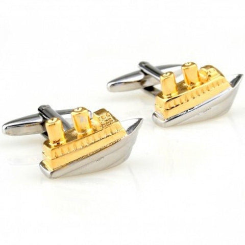 Ship Cufflinks | Gold and Silver